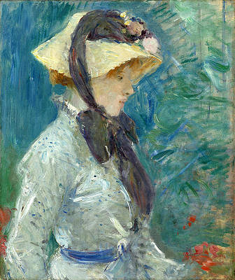 Young Woman with a Straw Hat Print by Berthe Morisot