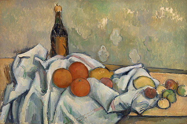 Bottle and Fruits Print by Paul Cezanne