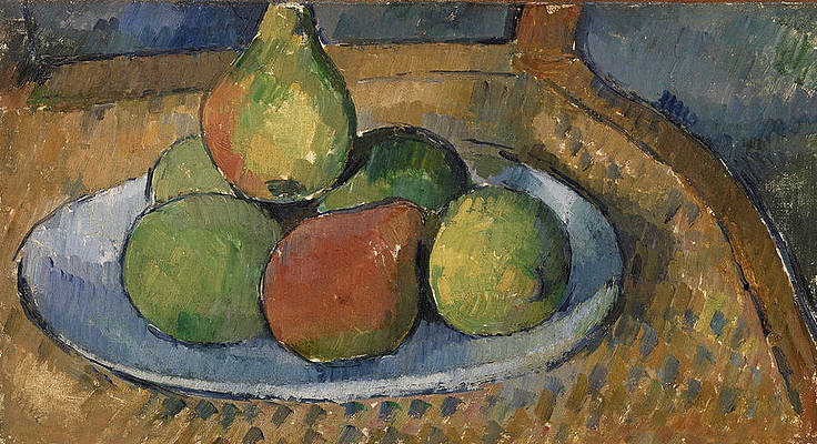 Plate of Fruit on a Chair Print by Paul Cezanne