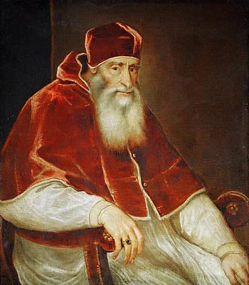 Portrait of Pope Paul III. Print by Titian