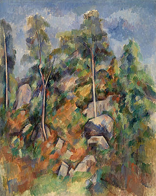 Rocks and Trees Print by Paul Cezanne