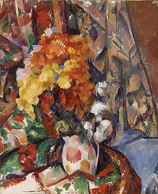 The Flowered Vase Print by Paul Cezanne
