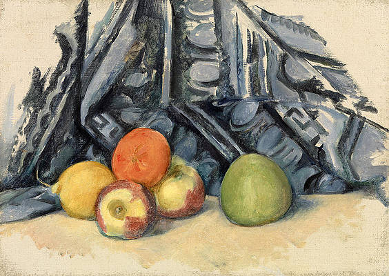 Apples and Cloth Print by Paul Cezanne