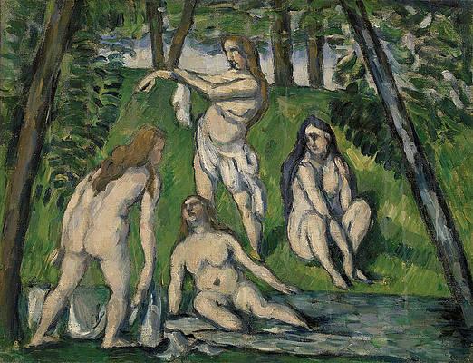 Four Bathers Print by Paul Cezanne