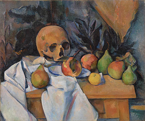Still Life with Skull Print by Paul Cezanne