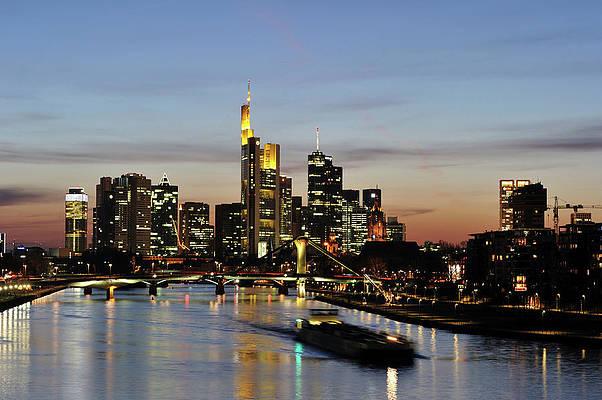 Deutschland Frankfurt-Stadtskylinenachtansicht,Zeichnen Anf/änger mit Pinsel und Acrylfarben Malen nach Zahlen Kits Frameless30*40cm