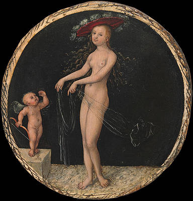 Venus and Cupid Print by Lucas Cranach the Elder
