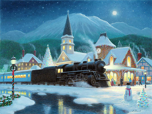 Christmas Train Paintings Fine Art America