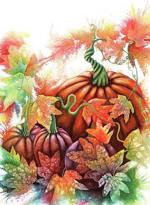 Pumpkin princess fairy forest original art patch painting