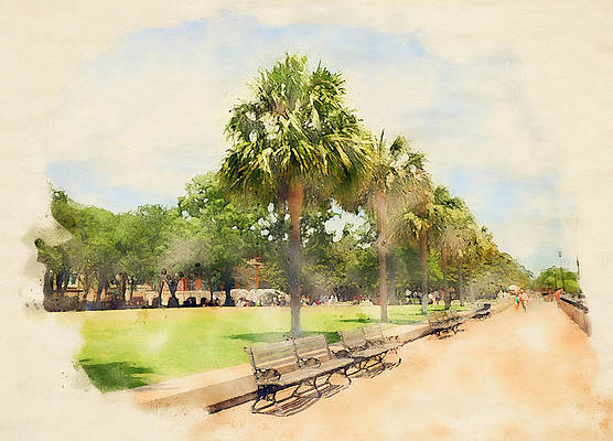 Charleston Harbor Painting - Charleston Battery Watercolor by Dan Sproul
