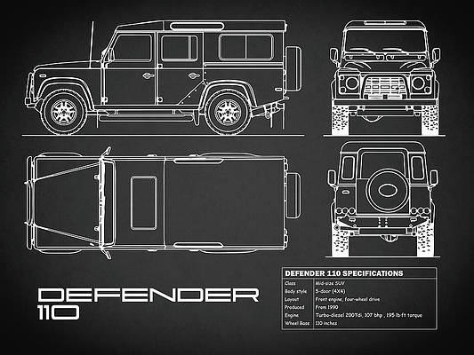 POSTER Art Print Car RENDER LAND ROVER DEFENDER 90 Blue - A4 A3 A2 sizes