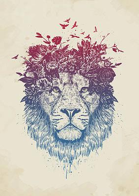 Рисунок диких цветов - Цветочный лев III работы Балажа Солти
