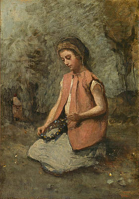 Girl Weaving a Garland Print by Jean-Baptiste-Camille Corot