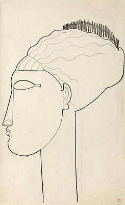 Head In Left Profile Print by Amedeo Modigliani