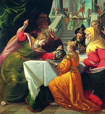 Herodias presented with the Head of the Baptist by Salome Print by Giovanni Andrea Ansaldo
