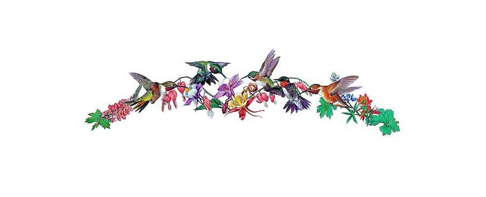 Реалистичный рисунок цветов - колибри от Salmoneggs
