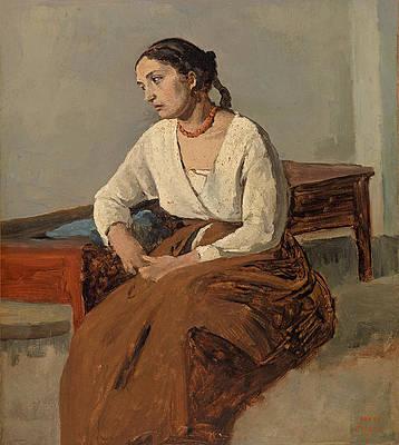 Melancholy Italian Woman. Rome Print by Jean-Baptiste-Camille Corot