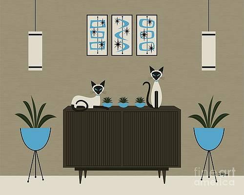 "11/"" X 14/"" Print Mid Century Modern Retro Donna Mibus Cats Dogs Siamese Lab Tabby"