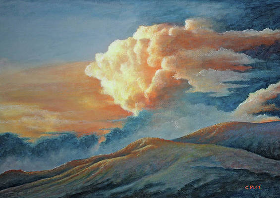 Scapula Painting Sunrise Over the Mountains