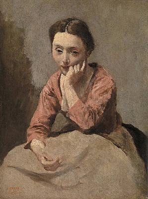Pensive Young Woman Print by Jean-Baptiste-Camille Corot