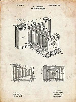 24 x 19.75 Black//White Gridlines JP London POSJSG45 1902 Brownie Camera Antique Peel and Stick Vintage Black Grid Poster Patent Art