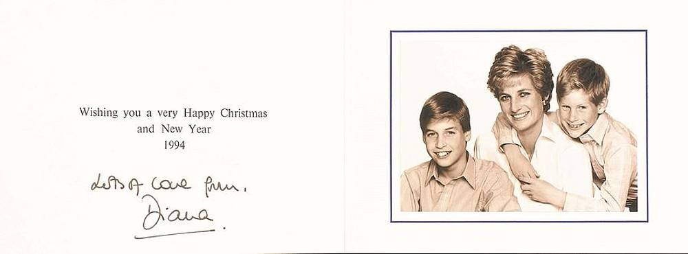 princess diana signed christmas card 1994 with prince william and prince harry photograph by redemption road usd