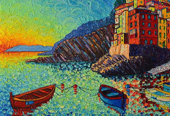 Cinque Terre painting 2.5x3.5 ACEO ACT print of original oil painting