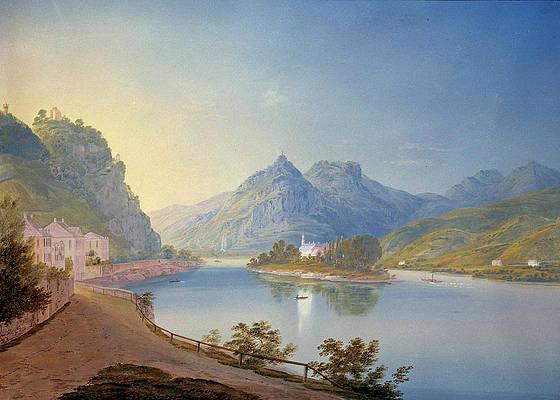 Rolandseck, Nonnenwerth, Siebengebirge Print by Eugene Isabey
