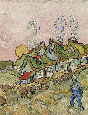 Thatched Cottages in the Sunshine Print by Vincent van Gogh