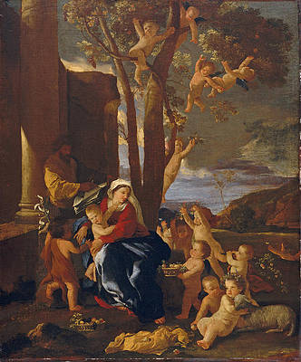 The Holy Family with Saint John the Baptist Print by Nicolas Poussin