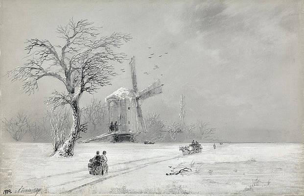 Winter in Ukraine Print by Ivan Konstantinovich Aivazovsky