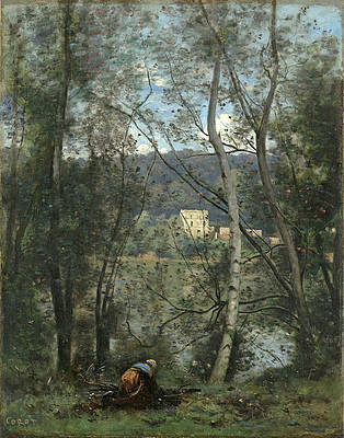 A Woman Gathering Faggots at Ville-d'Avray Print by Jean-Baptiste-Camille Corot
