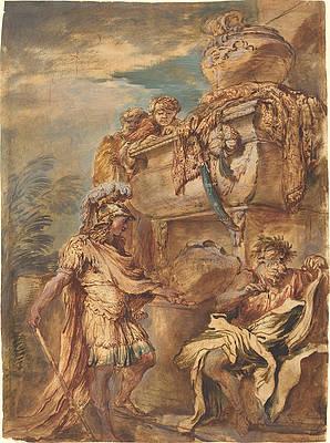 Alexander at the Tomb of Cyrus Print by Giovanni Benedetto Castiglione