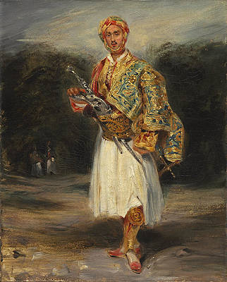 Count Demetrius de Palatiano in Suliot Costume Print by Eugene Delacroix