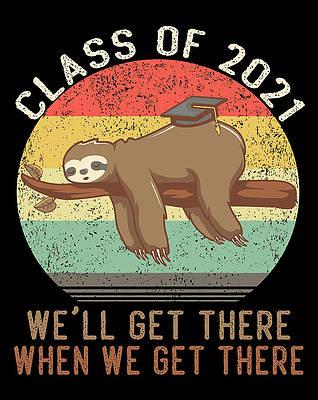 Graduation Cap Drawing - Funny Retro Senior Class Of 2021 Sloth Cap Graduation Gifts by Tintin Bjorklund