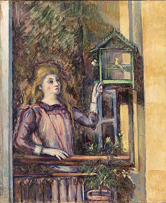 Girl with Birdcage Print by Paul Cezanne