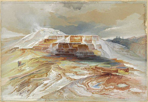 Hot Springs Of Gardiner's River, Yellowstone Print by Thomas Moran