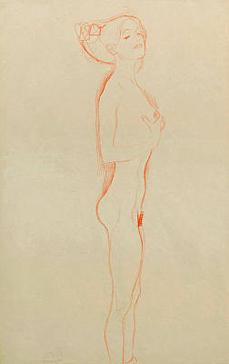 Naked Girl Standing, with Right Hand to Breast Print by Gustav Klimt