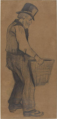 Old Man Carrying a Bucket Print by Vincent van Gogh
