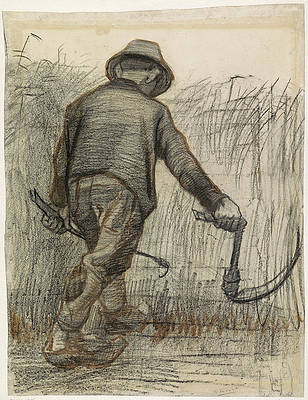 Peasant with Sickle Seen from Behind Print by Vincent van Gogh