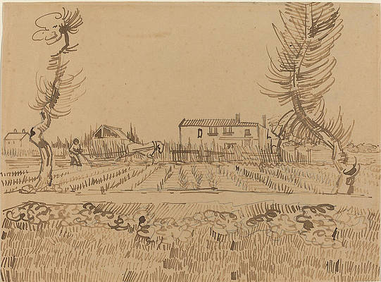Ploughman in the Fields near Arles Print by Vincent van Gogh