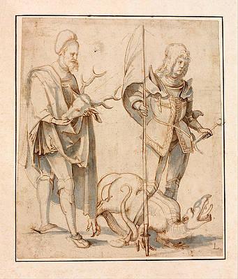 Saint Eustace and Saint George Print by Hans von Kulmbach