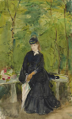 The Artist's Sister Edma Seated in a Park Print by Berthe Morisot