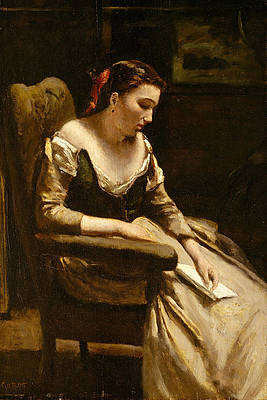 The Letter Print by Jean-Baptiste-Camille Corot