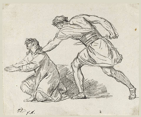 Warrior Seizing a Kneeling Figure Print by Jacques-Louis David