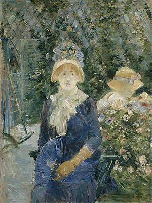 Woman in a Garden Print by Berthe Morisot