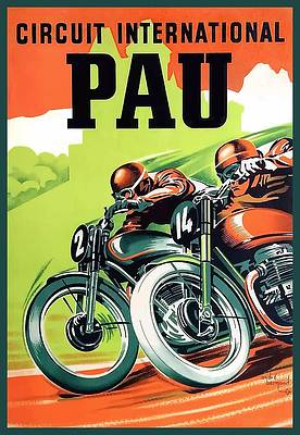 1935 GERMAN GRAND PRIX VINTAGE MOTORCYCLE AND AUTO RACING POSTER GREAT GRAPHICS