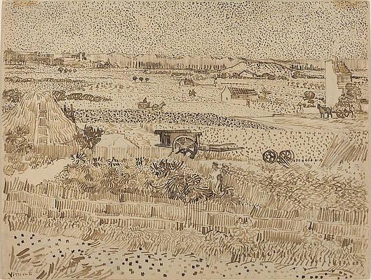 Harvest, The Plain of La Crau Print by Vincent van Gogh