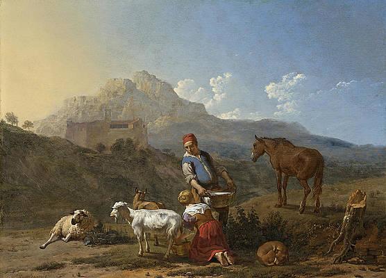 Italian Landscape With Girl Milking A Goat Print by Karel Dujardin