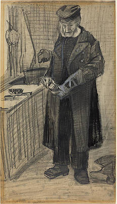 Man Polishing a Boot Print by Vincent van Gogh